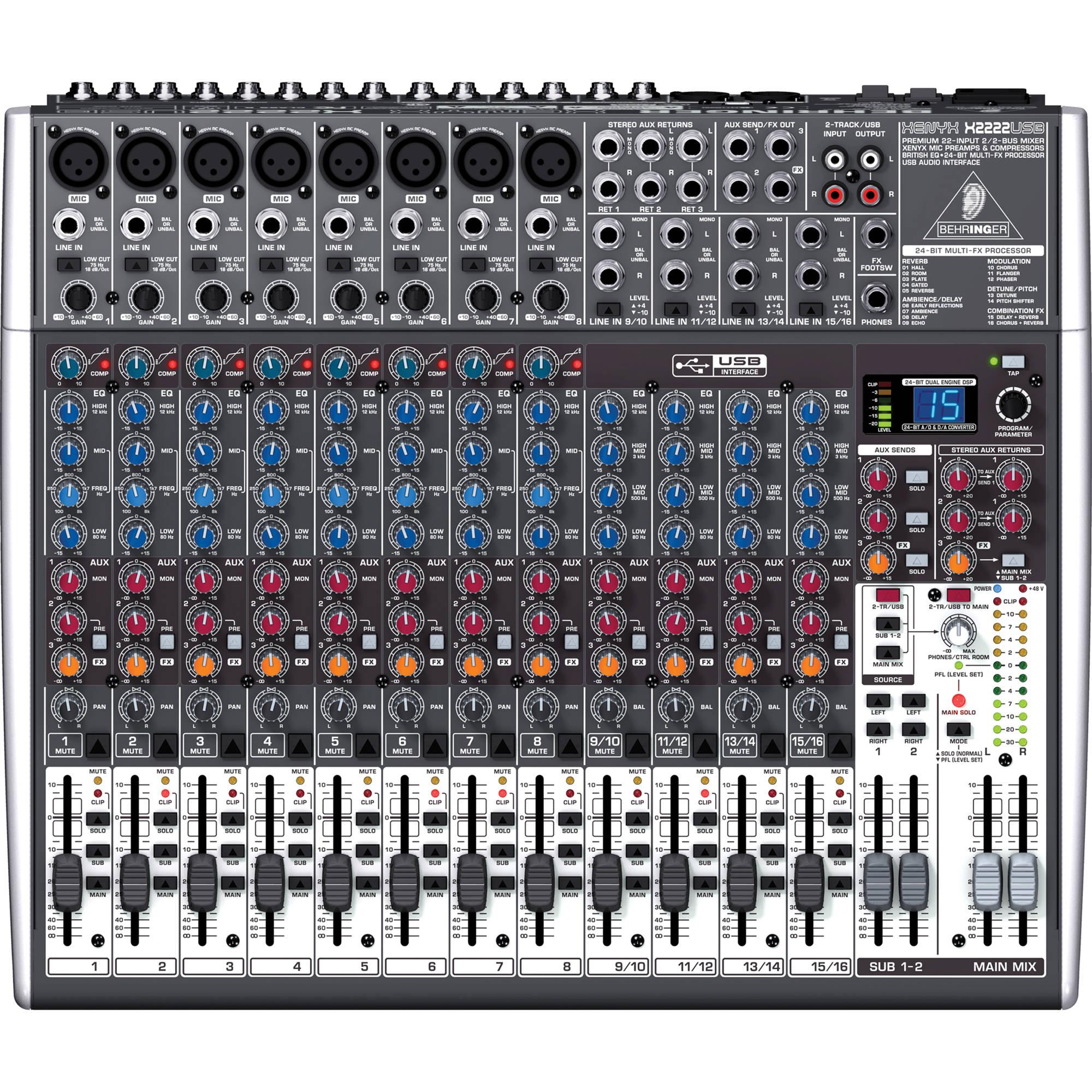 Mesa de som behringer x 2222 usb musitech instrumentos for Mesas behringer