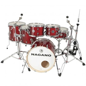 Bateria Nagano Work Series Birch Red Sparkle 22,8,10,12,14,16,14 Com Ferragens