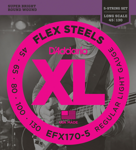Encordoamento Contrabaixo Daddario  EFX 170 5 Flex Steels