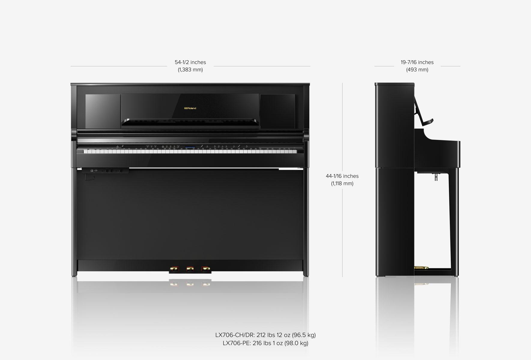 tamanhos piano roland lx706-dr