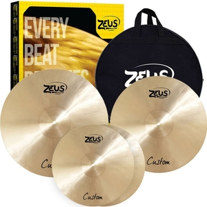 Kit de Pratos Zeus Custom Set C Hi-Hat 14/Crash 16/Ride 20 C/Bag