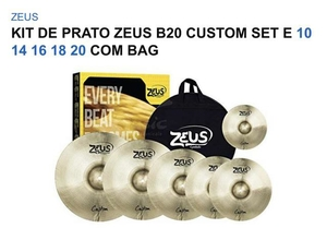 Kit de Pratos Zeus Custom Set E Splash 10 Hi-Hat 14/Crash 16/18Ride 20 C/Bag