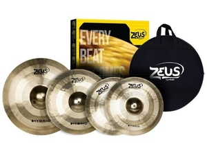 Kit de Pratos Zeus Hybrid Set C Hi-Hat 14/Crash 16/Ride 20 C/Bag