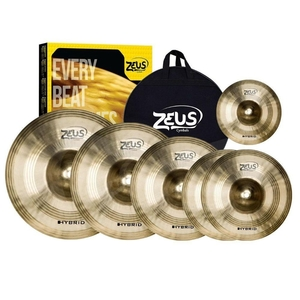 Kit de Pratos Zeus Hybrid Set E Splash 10 Hi-Hat 14/Crash 16/18Ride 20 C/Bag