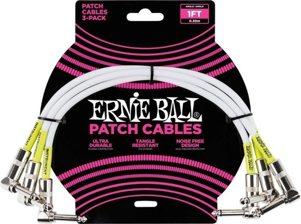 Cabo Pedal Ernie Ball 1FT L/L 3-Pack P06055 30,48cm
