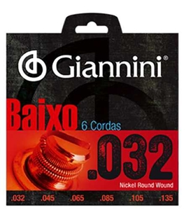 Encordoamento Giannini Baixo GEEBRS 6 0.032-135 Nickel 6 Cordas
