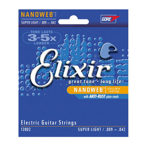 Encordoamento Guitarra Elixir 009 042 12002 Anti Rust Super Light