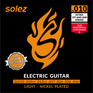 Encordoamento Guitarra Solez SLG 10 DLP Plain Steels