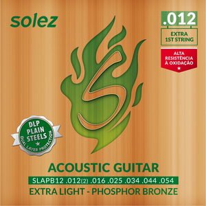 Encordoamento Violão Solez SLAPB 12 Phosphor Bronze DLP Plain Steels