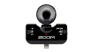 Microfone Zoom iQ5 Stéreo Para iPhone/Ipad/iPad Touch Preto